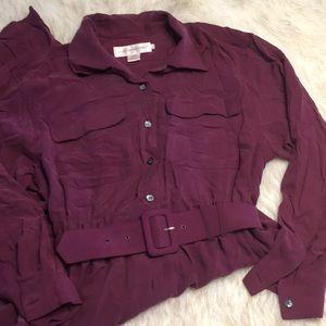 Vintage Silk Shirt Dress